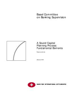 Basel Committee on Banking Supervisio A Sound Capital Planning Process Fundamental Elements Sound practices January  This publication is available on the BIS website www
