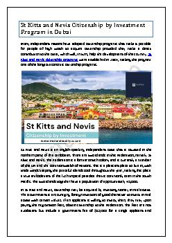 St Kitts and Nevis Citizenship by Investment Program in Dubai