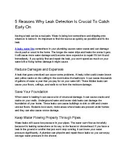 5 Reasons Why Leak Detection Is Crucial To Catch Early On