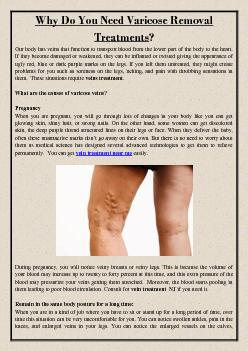 Why Do You Need Varicose Removal Treatments?