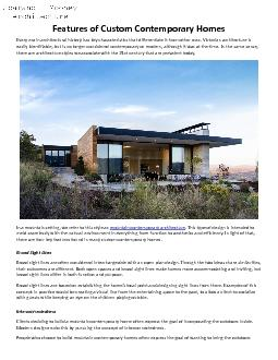Features of Custom Contemporary Homes