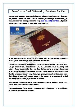 Benefits to Dual Citizenship Services for You