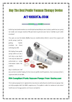 Buy The Best Penile Vacuum Therapy Device