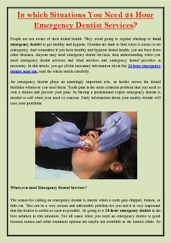 In which Situations You Need 24 Hour Emergency Dentist Services?
