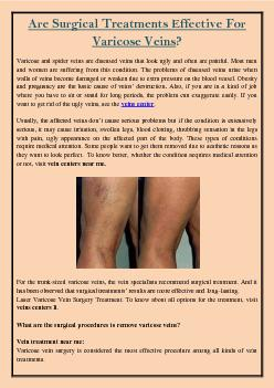 Are Surgical Treatments Effective For Varicose Veins?