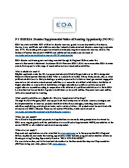FY 2018 EDA Disaster Supplemental Notice of Funding Opportunity(NOFO)