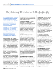 Article As a fellow advocate for enrichment I know wel