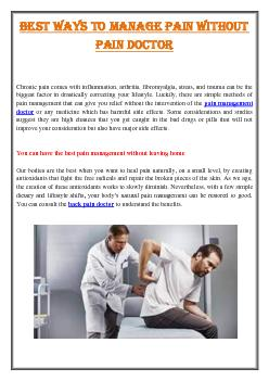 Best Ways to Manage Pain Without  Pain Doctor