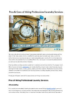 Pros & Cons of Hiring Professional Laundry Services - Prime Laundry