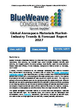 Global Aerospace Materials Market- Industry Trends & Forecast Report 2027