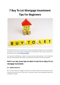7 Buy To Let Mortgage Investment Tips For Beginners - Mountview FS