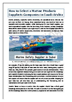 How to Select a Marine Products Suppliers Companies in Saudi Arabia