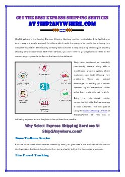 Get the Best Express Shipping Services