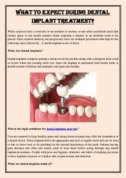 What To Expect During Dental Implant Treatment?