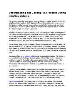 Understanding The Cooling Rate Process During Injection Molding