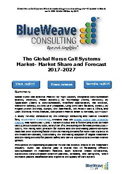 The Global Nurse Call Systems Market- Market Share and Forecast 2017-2027