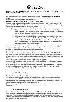 TERMS AND CONDITIONS FOR ALTERATIONS RETURNS AND QUALITY CLAIMS