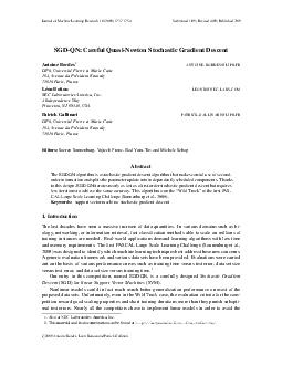 Journal of Machine Learning Research    Su bmitted  Revised  Published  SGDQN Careful QuasiNewton Stochastic Gradient Descent Antoine Bordes ANTOINE BORDES LIP