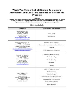Waste Tire Vendor List of Cleanup Contractors Processors End Users