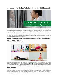 5 Healthy Lifestyle Tips To Follow During Covid 19 Pandemic - Go Moringa