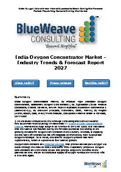India Oxygen Concentrator Market - Industry Trends & Forecast Report 2027