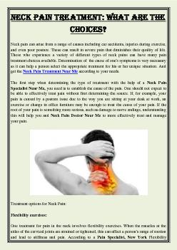 Neck Pain Treatment: What Are The Choices?
