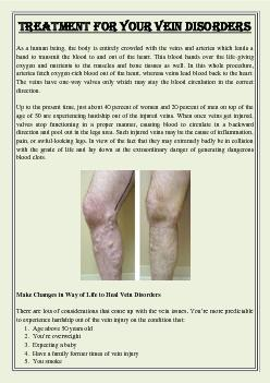 Treatment for Your Vein Disorders