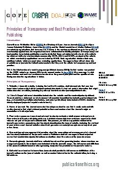 Principles of Transparency and Best Practice in Scholarly Publishing p