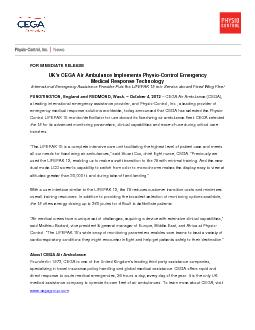 FOR IMMEDIATE RELEASE UKs CEGA Air Ambulance Implements PhysioContro