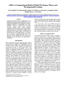 LIDA A Computational Model of Global Workspace Theory and Institute f