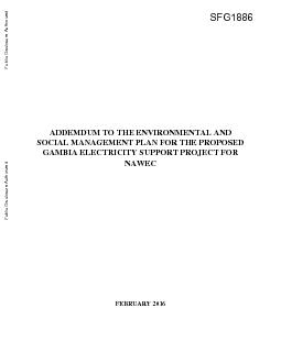 ADDEMDUM TO THE ENVIRONMENTAL AND SOCIAL MANAGEMENT PLAN FOR THE PROPO
