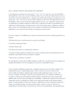 PECU eDEPOSIT SERVICES DISCLOSURE AND AGREEMENT In this Disclosure an