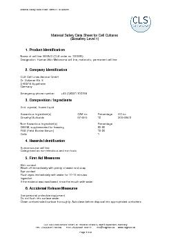 Material Safety Data Sheet MEWO  ID 300285 CLS Cell Lines Service Gm