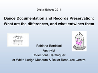 Dance Documentation and Records Preservation