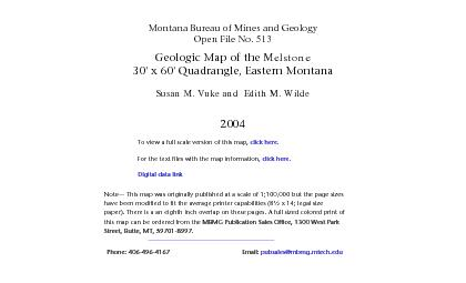 Montana Bureau of Mines and GeologyOpen File No 513Geologic Map of th