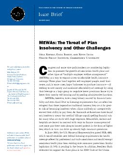 MEWAsThe Threat of Plan Insolvency and Other Challenges3insolventcon