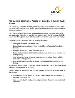 Arc Guide to Community Access for Disability Inclusion CADI Waiver