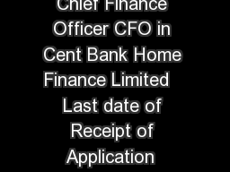 Recruitment of Chief Finance Officer CFO in Cent Bank Home Finance Limited   Last date of Receipt of Application