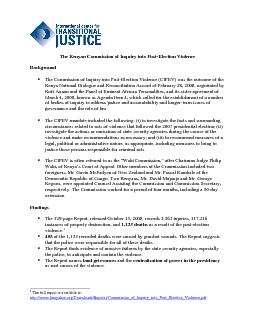 The Kenyan Commission of Inquiry into PostElection Violence