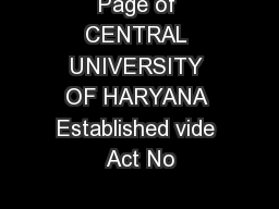 Page of  CENTRAL UNIVERSITY OF HARYANA Established vide Act No
