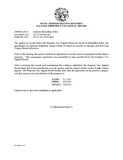 FINAL ADMINISTRATIVE DECISION ILLINOIS PROPERTY TAX APPEAL BOARD PTAB
