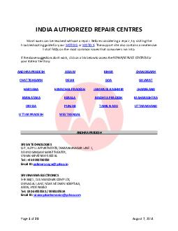 Page of  August   INDIA AUTHORIZED REPAIR CENTRES Most issues can be resolved without a repair