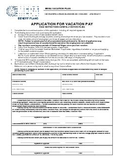 APPLICATION FOR VACATION PAY