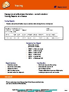 HapagLloyd eBusiness Solution mail solutionTracing Reports at a Glance