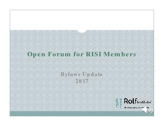 Open Forum for RISI Members