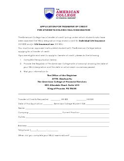 APPLICATION FOR TRANSFER OF CREDIT