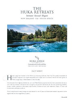 FACT SHEETuka Lodge was founded in the 1920s by a charming Irishman A