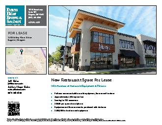 FOR LEASE1400 Valley River DriveWith Purchase of Restaurant Equipment
