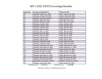 PAYE Processing Schedule