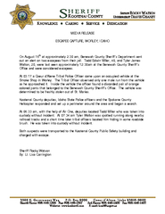 MEDIA RELEASE ESCAPEE CAPTURE WORLEY IDAHO On August